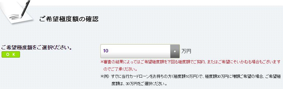 希望限度額10万円